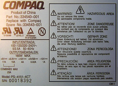 Compaq model: PS-4151-6CT 165W nie startuje naprawa...