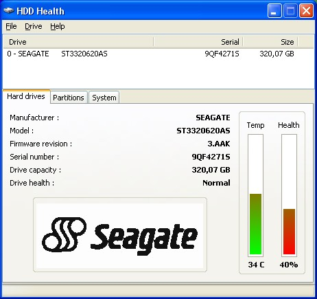Seagate ST3320620AS, niepokoj�cy stan SMART.