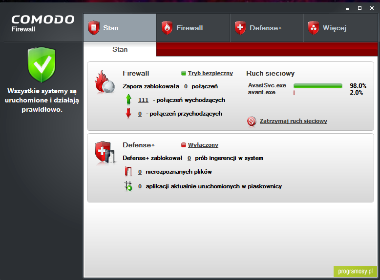 Comodo Firewall - zapora dla Windows 32 lub 64-bit Vista/XP SP2/Windows 7