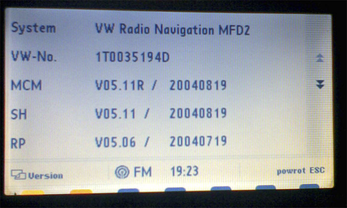 Polskie MENU do VW MDF 2 (DX)