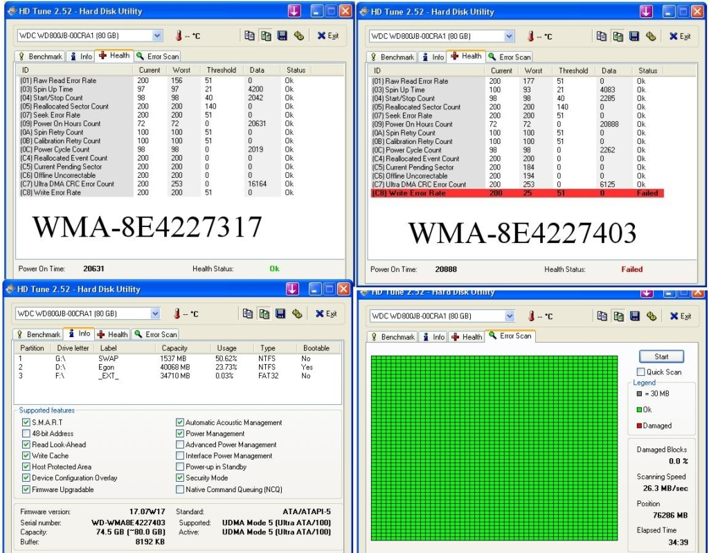 WD800JB SMART: Atrybut Multi Zone Error Rate