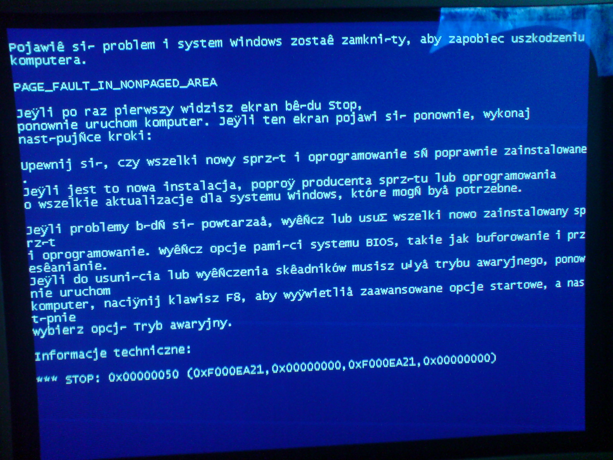 blue screen podczas instalacji windows xp