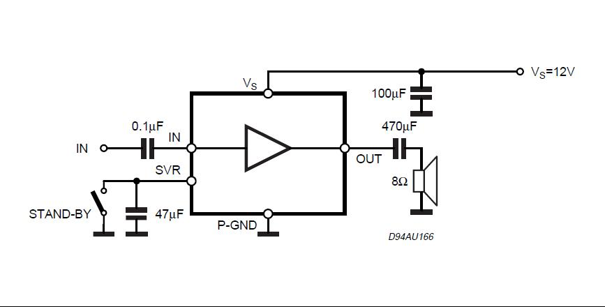 2W MONO AMPLIFIER Circuit Diagram.